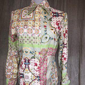 ETRO SPECTACULAR tan patchwork print shirt 44 10